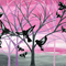 large bird painting,large painting of trees, large tree art,pink and grey, gray
