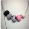 Grey / Pink Animal Print Polymer Clay Necklace