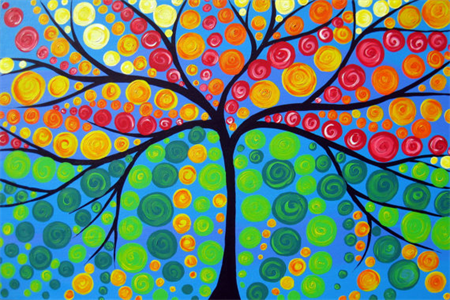 large tree of life painting, large bright painting, huge  paintings, large art