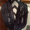 Purple/lilac infinity/snood knit scarf