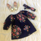 Navy Floral Long Sleeve Dress with matching top knot headband