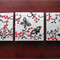 japanese style small paintings, art for home,  red art, wall art, red and black