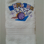 Personalised Hand Towel Bowling Design name added for free
