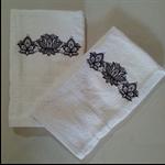 Set of 2 Hand Towels Blackwork Design