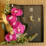 Unique Wall Clocks, Wall Art, Bedroom Decor, Purple Artificial Flower
