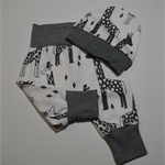 Giraffes White Organic Cotton Jersey Harem Pants With Matching Hat