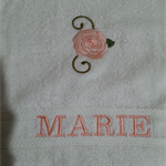 Hand Towel Single Rose Design With Personalised Name
