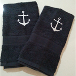 Set of 2 Hand Towels Anchor Design