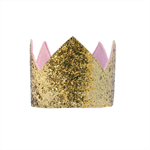 Glitter Crown - Gold and Pink - Plain - Photo Prop - Birthday