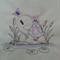 Baby  Towel Turtle and Butterflies Design     (Vintage)