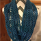 Turquoise blue infinity/snood knit scarf