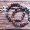 Indian Agate Gemstone & Tibetan Bead Bracelet Set