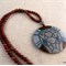 Elephant - hand painted art deco style pendant and necklace, brazil agate beads