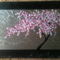 cherry blossom painting on a canvas, pink and purple art, cherry blossoms, wall