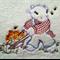 Baby  Towel Calf with Flower- Filled Wheelbarrow Design     (Vintage)