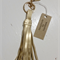 Metallic gold leather keyring