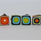 Unique Triple Polymer Clay Stud Earring Set, Green, Blue, Red Orange, White