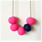 Hot Pink and Navy Polymer Clay Basics Necklace