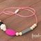 Teething / Nursing Necklace - Hot Pink, White, Black, Grey & Cream, Abby