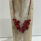 Red Coral Teardrop Cluster Necklace