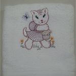 Baby  Towel Kitten and Flowers   Design (Vintage)