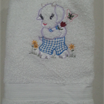 Baby  Towel Goat and Flowers  Design