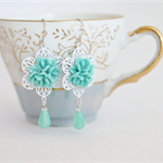 mint aqua flower earrings