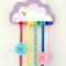 Cloud and rainbow hair clips holder, felt, lavender purple, organiser