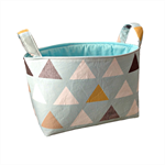 Fabric Storage Organiser Bin - Nordic Triangles in Blue, Gold and Grey