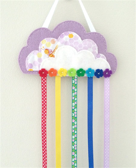 Cloud and rainbow hair clips holder, felt, lavender purple, organiser