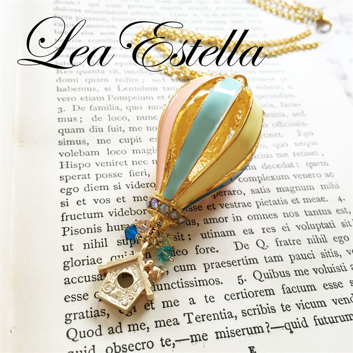 Pastel Blue Peach Yellow Hot Air Balloon Floating house Necklace