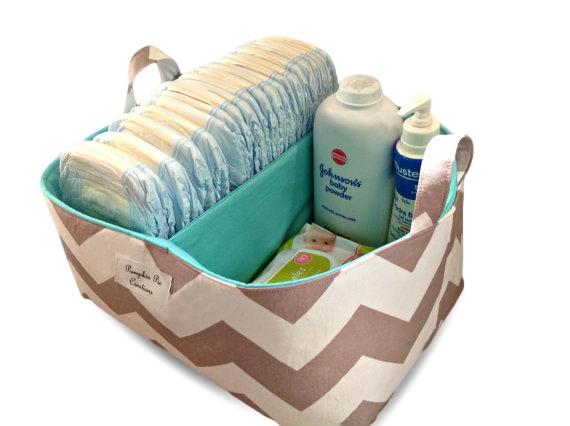 ... XLarge Charcoal On White Nappy Caddy   Diaper Caddy   Storage Organiser  Bin ...