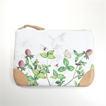 Clover field - zipper purse/leather and custom printed canvas/ pouch