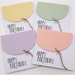 Set of 4 Oversize Pastel Balloon Birthday Cards