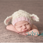 Baby lamb bonnet animal hat pink or blue and cream girl boy newborn photoprop