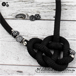 Celtic Heart Necklace + Earrings - Silver Tone findings on Stunning cord