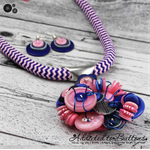 Pink and Blue Cluster Button Pendant & Earrings -  Cord Zig Zag