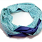 Rayon & voile infinity scarf mint navy white. Trend for ladies on the go