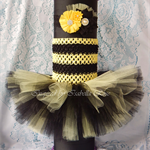 Bumble-Bee 2-Tier Tulle TuTu Dress with matching headband (newborn-12mnth)