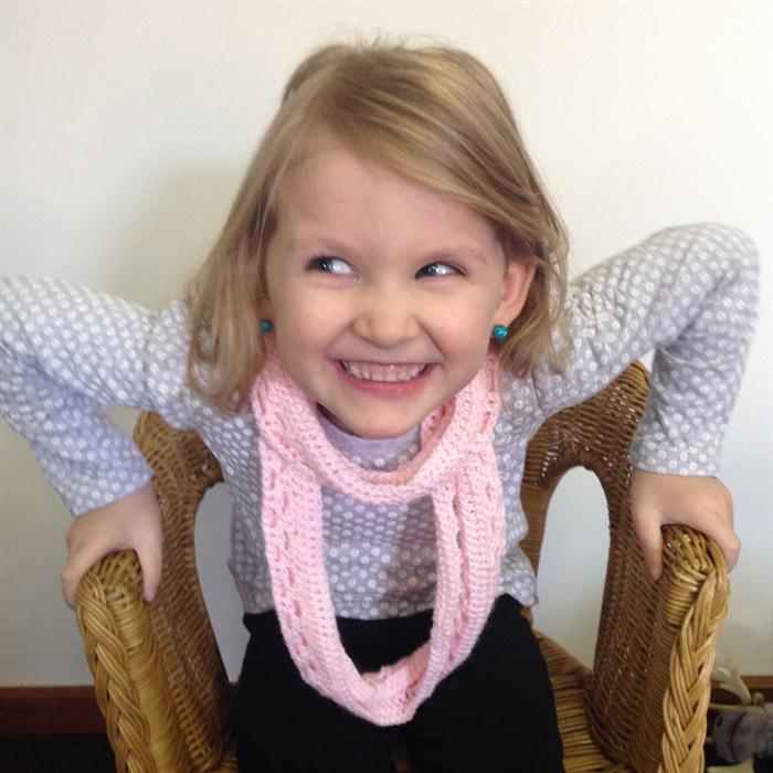 Crochet Pink Infinity Scarf