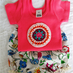 T-shirt and Bloomies or Nappy Cover set, crochet Mandala.  Size 0.