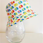 Baby boy 3-6 month old summer hat in mini elephant fabric