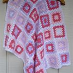 crochet baby blanket | baby shower gift, watermelon, pastel pink, mauve, white