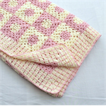 Cream and Soft Pink Granny Squares Crochet Cot Blanket