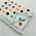 White with Rainbow Stars, Granny Squares Crochet Cot Blanket