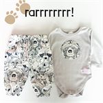 6-12m Boys Wild animal Harems and onesie set - baby, grey, fox, leopard, winter