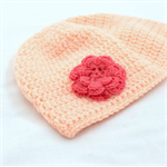 Peach Sorbet Crochet Beanie/ Cloche hat