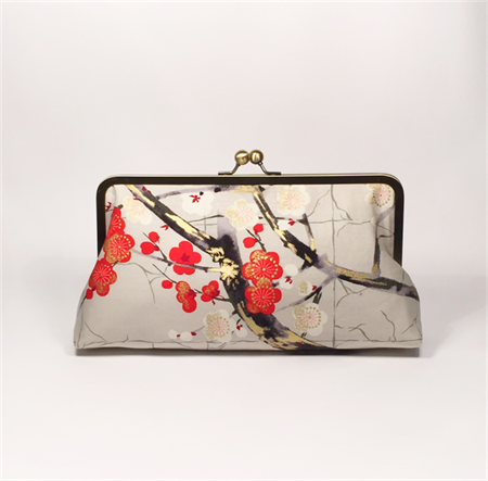 Cherry blossoms in grey large clutch purse