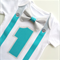Boys First Birthday Party Silver & Aqua Bow Tie and Suspenders Onesie All In One