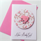 Newborn baby girl congratulations pink chickadee bird cute sweet celebrate card